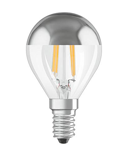 OSRAM Dimmbare Filament LED Lampe mit E14 Sockel, Warmweiss (2700K), Tropfenform Gold verspiegelt, 4W, Ersatz für 34W-Glühbirne, LED Retrofit CLASSIC P Mirror