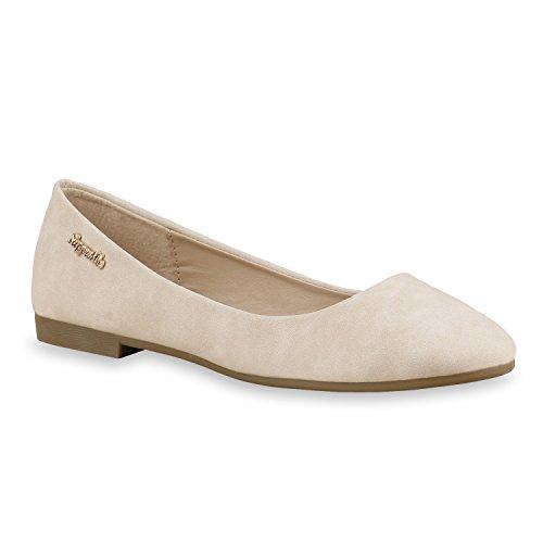 stiefelparadies Klassische Damen Strass Ballerinas Elegante Slipper Übergrößen Metallic Glitzer Flats Schuhe 134616 Creme Gold 38 Flandell