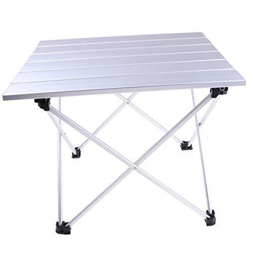 D DOLITY 1 Pieza Mesa Plegable Aleción de Alumino Ajustable con Organizador Multiusos Duro - Plata,...