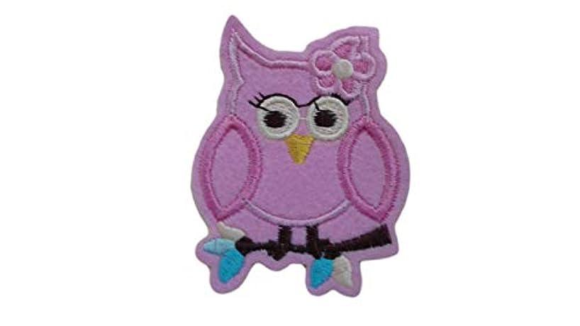 Pink OWL Iron On Patch Fabric Applique Bird Animal Motif Cartoon Scrapbooking Decal 2.75 x 2.16 inches (7 x 5.5 cm)