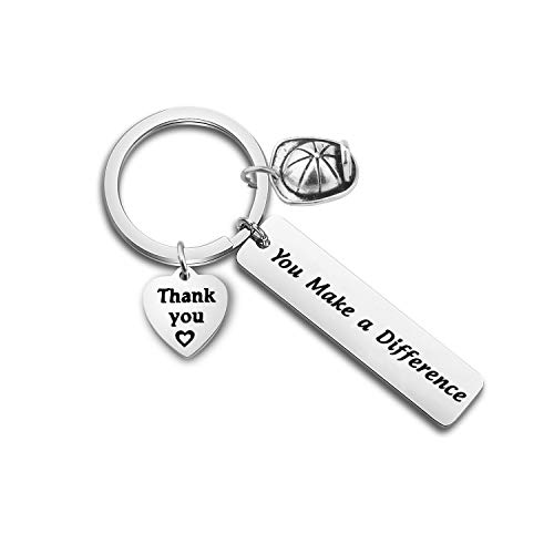 FOTAP Firefighter Thank You Gift You Make a Difference Helmet Charm Keychain Gift for Fireman First Responder Gift(Fireman Keychain)