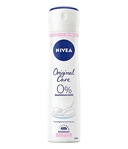 NIVEA Original Care 0 Prozent Deo Spray (150 ml), Deo ohne Aluminium (ACH) für 48h zuverlässigen Deo-Schutz und sanfte Pflege, Deodorant mit Hautpflege-Essenz