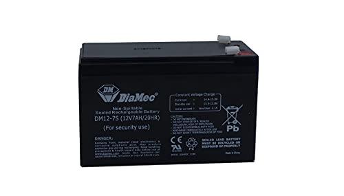 Diamec Batería Plomo AGM 12v 7Ah F1 para Seguridad