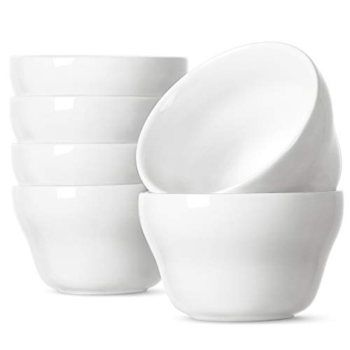 LE TAUCI Small Bowls Dessert Bowls 8 Ounce Bouillon Cups for Dessert Soup Dipping Sauce Coffee Cupping - Set of 6, White