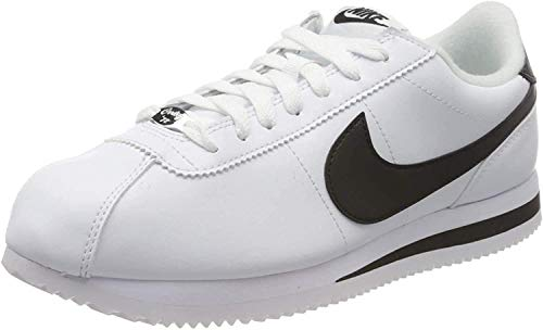 NIKE Mens Cortez Basic Leather Shoe, Zapatillas para Hombre, Multicolor (White/Black/Metallic Silver 100), 43 EU