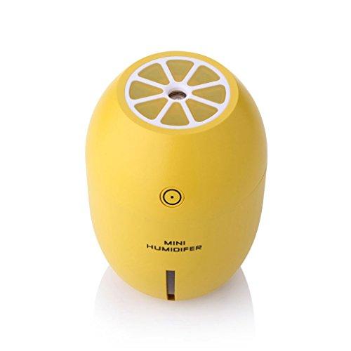 ANDLX 180 ML Creativo Limón Mini USB Humidificador Ultrasónico Portátil DC 5 V LED Purificador de Aire Mist Fabricante para la Oficina del Hogar Aromaterapia (Color : Amarillo)