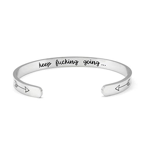 CIVIKY 2 PCS Keep Going Inspirational Bracelet,Stainless Steel Personalized Cuff Friend Encouragement for Girls Birthday Gifts (Sliver)