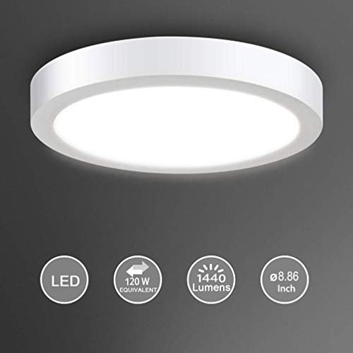 Surface Mount Led Ceiling Light-18W Round Flat LED Ceiling Lighting,6000K,Cool White for Kitchen,Closet,Garage,Hallway,1440lm,Not-Dimmable(120 watt Halogen Bulb Equivalent)