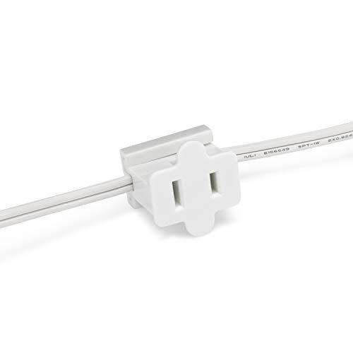 Holiday Lighting Outlet Female White in Line Pass Through Slip Plug, Zip Plug, Vampire Plug, Gilbert Plug, Slide Plug (50, SPT-1)