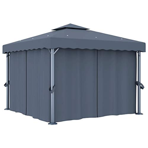 UnfadeMemory Cenador Jardin Exterior on Cortinas para Bodas Barbacoas Camping,Carpa Jardin,Tienda para Fiestas,con Doble Techo (Gris Antracita con Cortinas, 3x3m)