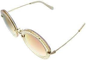 Miu Miu MU 13NS 155AD2 Glitter Gold Plastic Round Sunglasses Pink Mirror Lens product image