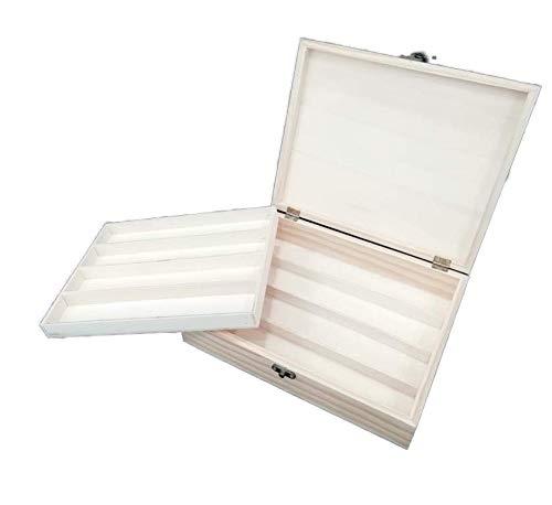 Caja colecciones. Para abanicos, plumas, etc. En madera de chopo en crudo. Se puede pintar.