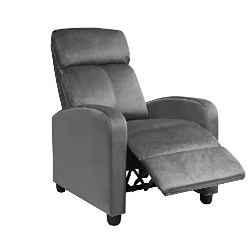 INMOZATA Recliner Sofa Bed Chair Adjust High Wingback Reclining Armchair Velvet Occasional Tub Chairs for Living Room Bedroom (Grey)