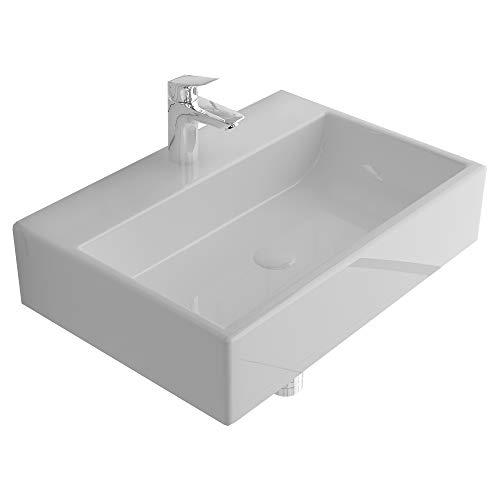 Alpenberger Lavabo con revestimiento antibacteriano de cerámica, 52 x 36 cm, para colgar o encimera, incluye nano-sellado, diseño elegante, lavabo cuadrado para aseo de invitados