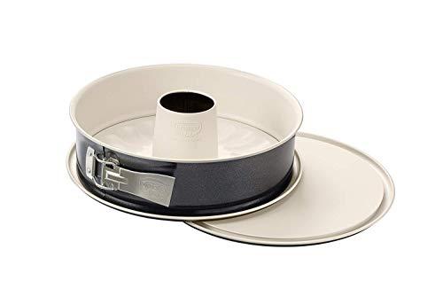 Dr. Oetker Springform mit Flach- und Rohrboden Ø 28 cm, Kuchenform mit 2 Böden, runde Backform aus Stahl mit keramisch verstärkter Antihaft-Beschichtung (Farbe: creme/anthrazit), Menge: 1 Stück