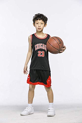 ShangSRS Basketball-Trikots Set für Kinder - NBA Bulls Jordan#23 / Lakers James#23 / Warriors Curry#30 Basketball-Shirt Weste Top Sommershorts für Jungen und Mädchen (Schwarz - Bulls Jordan #23, XS)