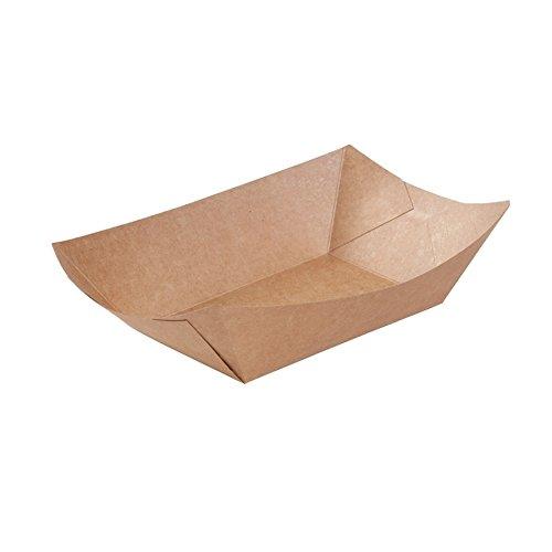 BIOZOYG Cuenco Tipo Barco de cartón con Recubrimiento orgánico para Aperitivos I vajilla desechable Biodegradable I Plato para Servir Salsas I Cuenco para Llevar 500 ml 500 Piezas