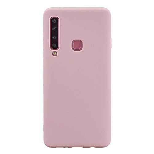 LUSHENG Capa de silicone para Samsung Galaxy A9 (2018), Samsung Galaxy A9 (2018), capa macia de TPU à prova de choque, absorção de choque de corpo inteiro [resistente a impressões digitais] - Rosa