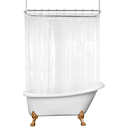 Riyidecor Klarer Clawfoot Tub Rundum-Duschvorhang, 452 x 178 cm, zum Umwickeln, Badezimmer-Duschpaneel-Set, extra breit, 32 Stück Duschhaken enthalten