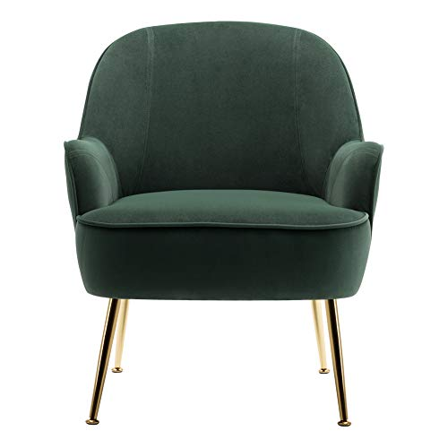INMOZATA Dark Green Tub Chair Velvet Dining Armchair Arm Rest Occasional Chairs for Living Room Bedroom Lounge