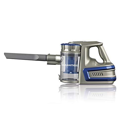 CLEANmaxx Akku-Zyklonsauger Cordless Power | Kabelloser Handstaubsauger, 2000 mAh Li-Ion Akku | Saugkraft-Regulierung in 2 Stufen [40min Akkulaufzeit, 72cm Alu-Steckrohr] (Blau)