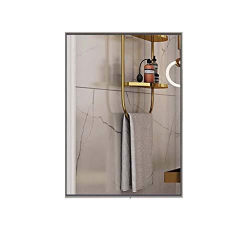 Espejo Colgante con Marco de Metal, HD Decoración de Acero Inoxidable Espejo de Pared Moda Traje para Sala de Estar Dormitorio Baño Espejo para maquillarse (Color : Silver, Size : 80x100cm)