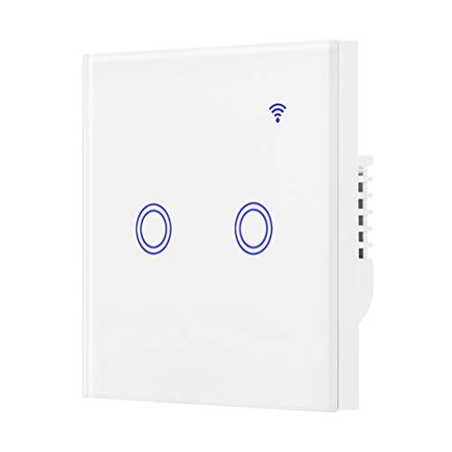 Mobestech - Interruptor táctil inalámbrico, WiFi, Smart Touch, control por aplicación, interruptor de luz LED de pared, compatible con Alexa (2 velocidades)