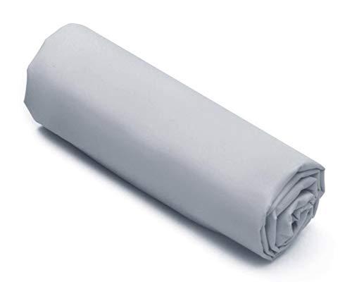 Corr - Sábana bajera de 180 x 200 cm, 2 plazas, 100% algodón, color gris claro