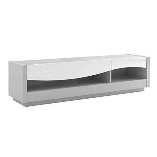 Tousmesmeubles Meuble TV 2 tiroirs laqué Blanc/Gris - RALF - L 178 x l 45 x H 47 - Neuf
