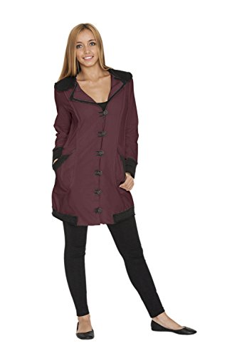Neon Buddha Women's Lightweight Cotton Jacket Female Casual Trench Coat with Oversized Notched Collar and Toggle Buttons,Summer Plum,Medium