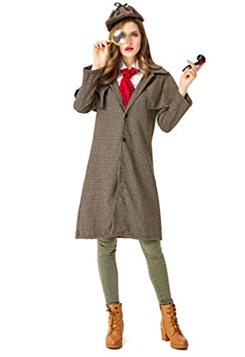 Disfraz De Detective Para Mujer Cosplay Disfraz De Halloween Para Adultos Abrigo Sherlock Holmes,M