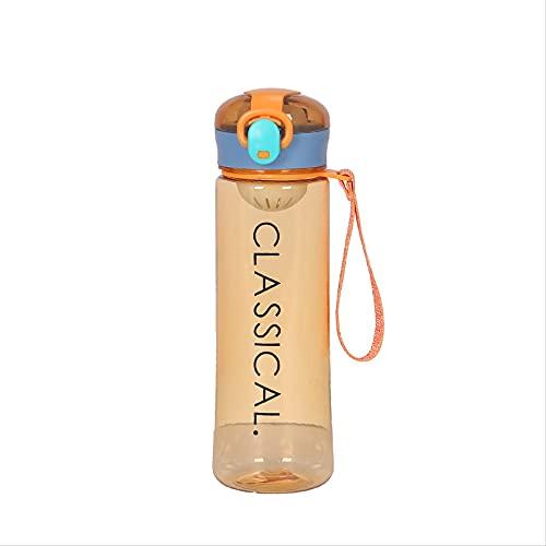 Taza de plástico con cuerda y carta rebote cubierta transparente taza de agua portátil al aire libre taza de agua 400ml naranja