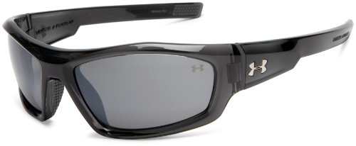 Under Armour Power Multiflection Oversized Sunglasses, Crystal Gray Frame/Gray Lens, one size