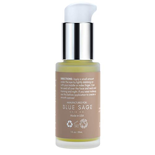 31G6PZHy3tL - Blue Sage De-Puffing Caffeine Eye Serum | Natural Anti-Aging Eye Treatment with Probiotics, Green Tea + Hyaluronic Acid Serum for Face to Tighten and Hydrate under Eye Skin, and Brighten Dark Circles