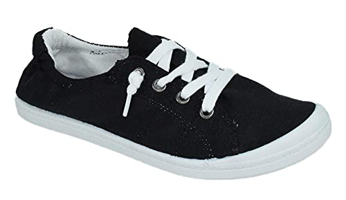 Soda Flat Women Shoes Linen Canvas Slip On Sneakers Lace Up Style Loafers White Sole Zig-S Black 8.5