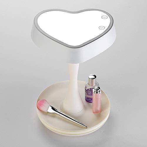 Lampe de Bureau Seven Colors Mirror Lamp Rechargeable Makeup Mirror Led Desk Lamps Heart-shape Makeup Mirror Lights Drop Shipping