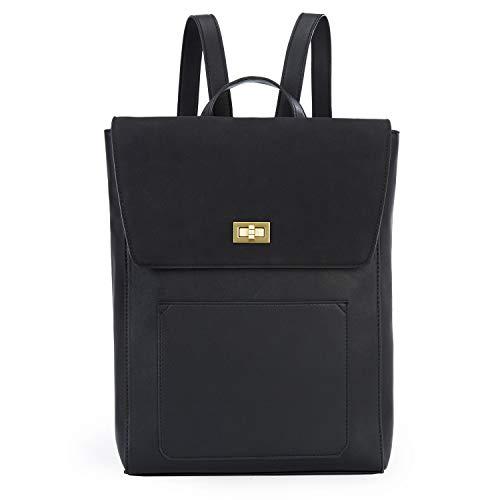 ECOSUSI Rucksack Leder Damen Daypack Vintage Laptop Rucksack 14 Zoll Schulrucksack mit Laptopfach Wasserabweisend Schwarz
