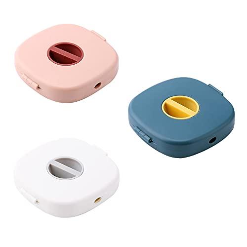 DASNTERED Caja de almacenamiento de cables, 3 piezas ABS para cables USB de escritorio Organizador giratorio Caja de almacenamiento de cables para oficina en casa (rosa, azul, blanco)