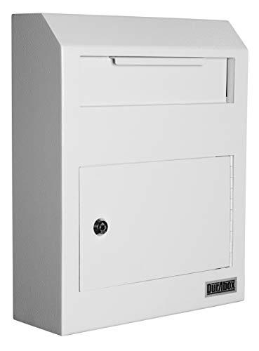 DuraBox Wall Mount Locking Drop Box Steel Mailbox for Rent Payments, Mail, Keys, Cash, Checks W500 (Gray)
