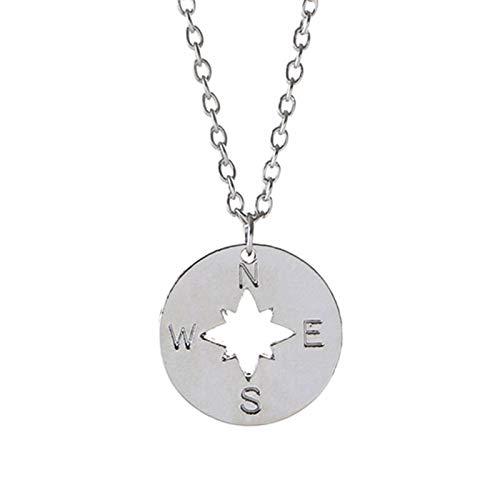 GBX Creative Trend - Collar con colgante de brújula redondo con colgante de cadena hueca para hombres y mujeres, joyería de moda para regalos de plata