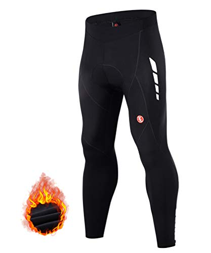 Souke Sports Men's Thermal Fleece Cycling Pants 4D Padded Bike Biking Tights for Winter (Fleece Black, XX-Large)