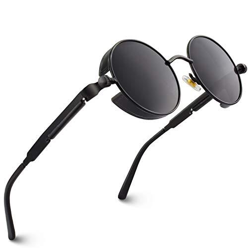 CGID Retro Sonnenbrille im Steampunk Stil, runder Metallrahmen, polarisiert, für Frauen und Männer, E72, A1 Schwarz Grau, Einheitsgröße