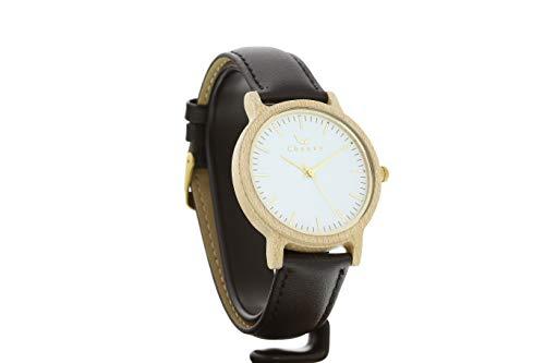 Reloj Tofino de CWA de diseño en Color Negro, Mecanismo de Cuarzo japonés Miyota, Reloj de Madera auténtica con Correa de Cambio, Reloj de Pulsera con Esfera de Madera auténtica