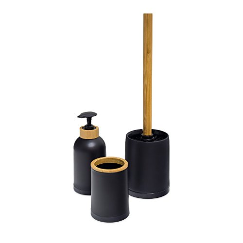 Balvi Set baño Zen Color Negro Conjunto de 3 Piezas