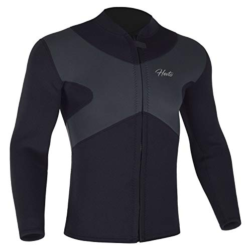 Hevto Wetsuits Tops X Men 3mm Neoprene Jacket Long Sleeve Surfing Swimming Front Zip Keep Warm (X-Men Gray, M1)