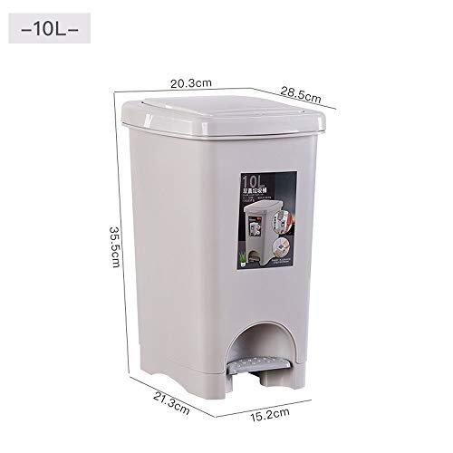 PATRICK Cubos de Basura Bote de Basura Ambiental,Cubo de Basura plástico del Pedal del Cuadrado del botón de la Cocina Cubo de Basura con Doble Tapa Aplicable a Cada habitación