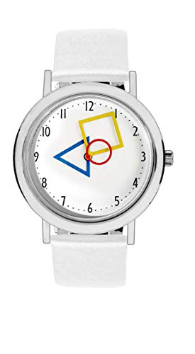 Aristo Unisex Bauhaus Quarz-Uhr RGB | Bauhaus Feat. Mondrian | Lederarmbanduhr | 100 Jahre Bauhaus (weiß)