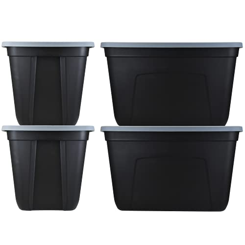 SimplyKleen 18-Gallon Plastic Storage Containers with Lids, Black/Grey (Pack of 4)