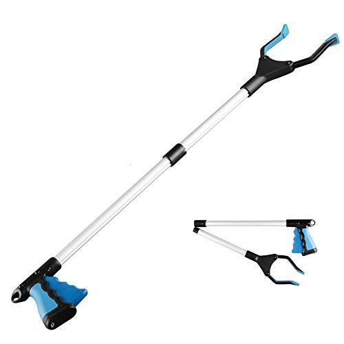 Grabber Reacher Tool Reacher Grabber Grabber Tool for Elderly 32quot Foldable Litter Picker Garden Grabber Arm Extension Lightweight Mobility Aid Extender Gripper Tool Blue