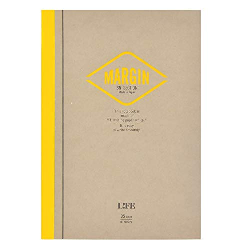 Japanese Notebook, Exceptional Paper, Great for Fountain Pens, B5, Yellow, Grid